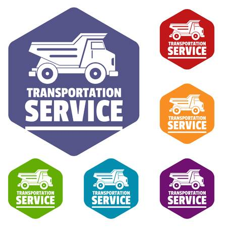 Transportation company icons vector colorful hexahedron set collection isolated on white