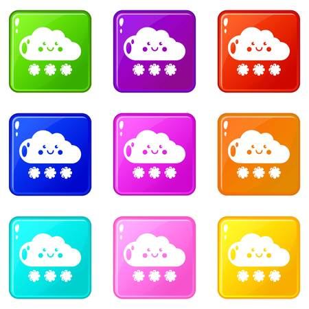 Snow icons set 9 color collection isolated on white for any design 矢量图像