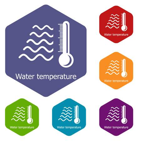 Water temperature icons vector colorful hexahedron set collection isolated on white