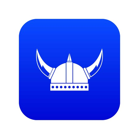 Viking helmet icon digital blue for any design isolated on white vector illustration