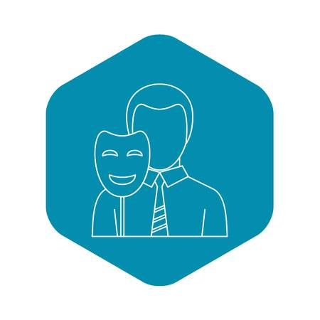 Businessman holding disguise mask icon. Outline illustration of businessman holding disguise mask vector icon for web Vettoriali