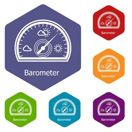 Barometer icons vector hexahedron