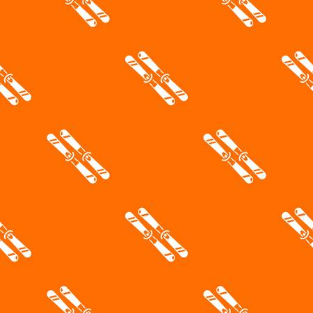 Skiing pattern vector orange for any web design best
