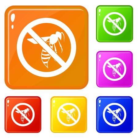 No wasp sign icons set collection vector 6 color isolated on white background Иллюстрация
