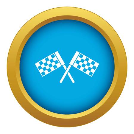 Crossed chequered flags icon blue vector isolated on white background for any design Stockfoto - 130238996