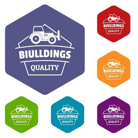 Building quality icons vector hexahedron