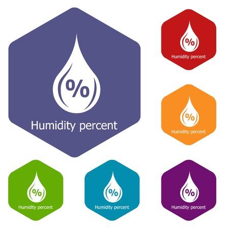 Humidity percent icons vector hexahedron  イラスト・ベクター素材