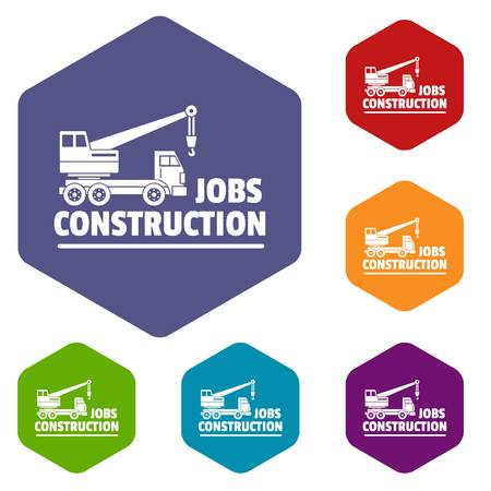 Construction job icons vector hexahedron