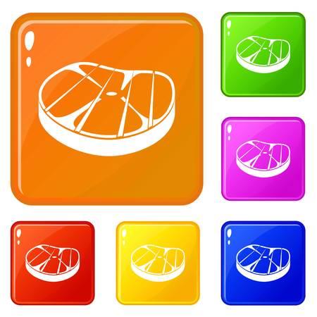 Steak icons set vector color