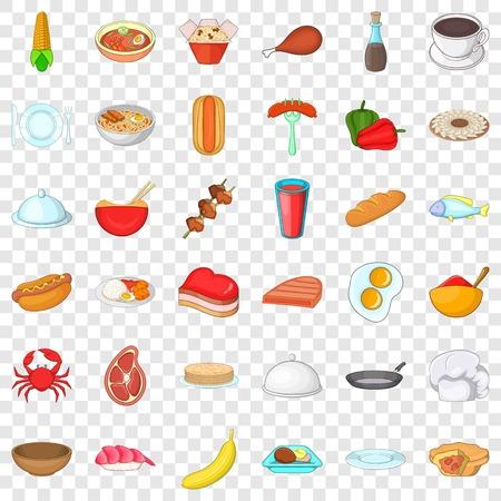 Cafe icons set, cartoon style