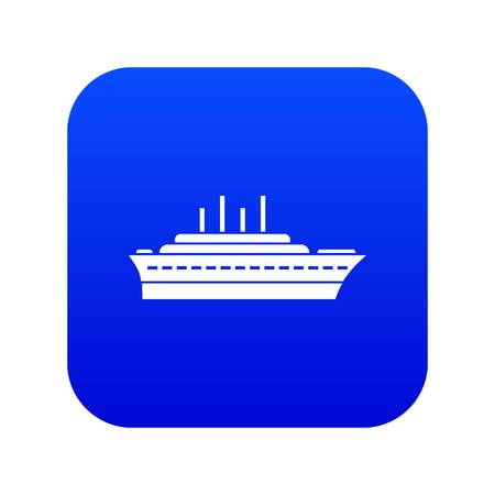 Ship icon digital blue for any design isolated on white vector illustration