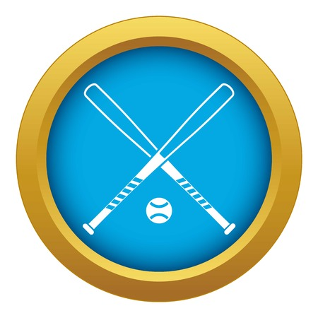 Crossed baseball bats and ball icon blue vector isolated on white background for any design Banque d'images - 130239057