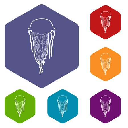 Jellyfish icons vector colorful hexahedron set collection isolated on white