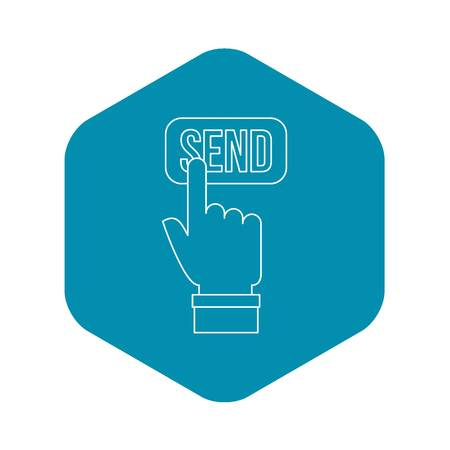 Hand pressing a button with the text Send icon. Outline illustration of hand pressing a button with the text Send vector icon for web