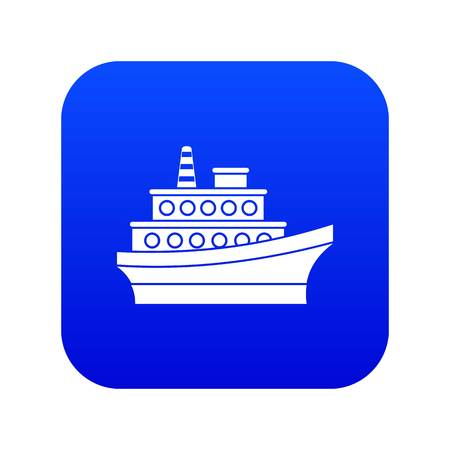 Big ship icon digital blue for any design isolated on white vector illustration 向量圖像