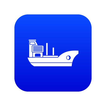 Marine ship icon digital blue for any design isolated on white vector illustration