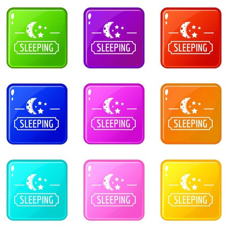 Sleeping moon icons set 9 color collection