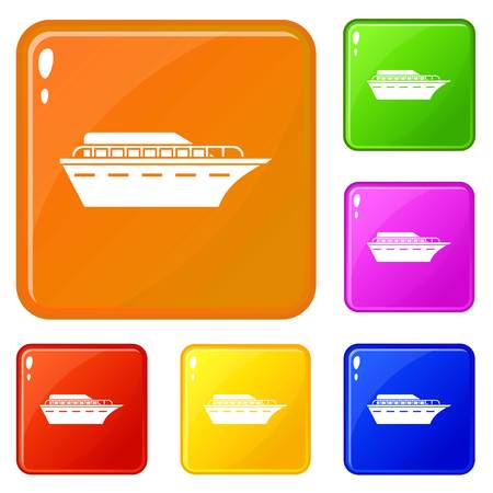 Powerboat icons set collection vector 6 color isolated on white background