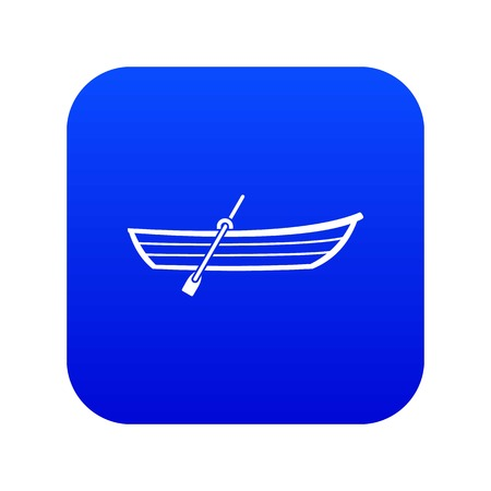 Boat with paddle icon digital blue for any design isolated on white vector illustration Ilustracja