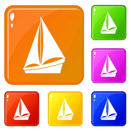 Small yacht icons set collection vector 6 color isolated on white background