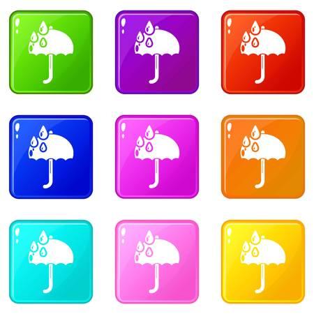 Umbrella icons set 9 color collection