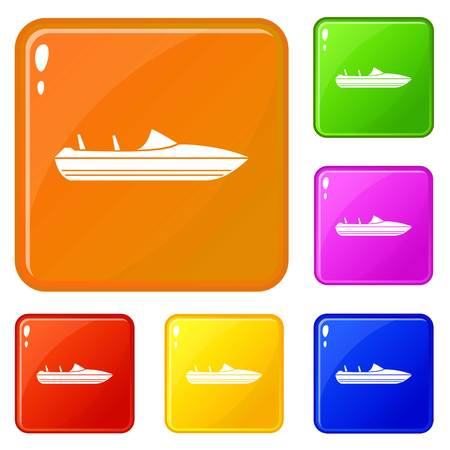 Little powerboat icons set collection vector 6 color isolated on white background