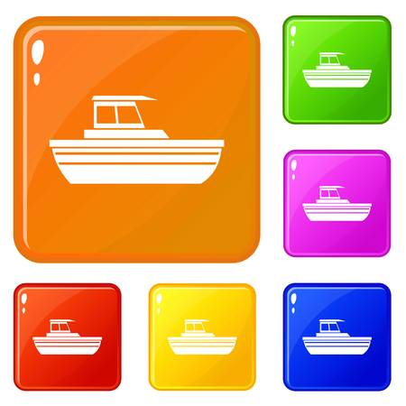 Motor boat icons set collection vector 6 color isolated on white background