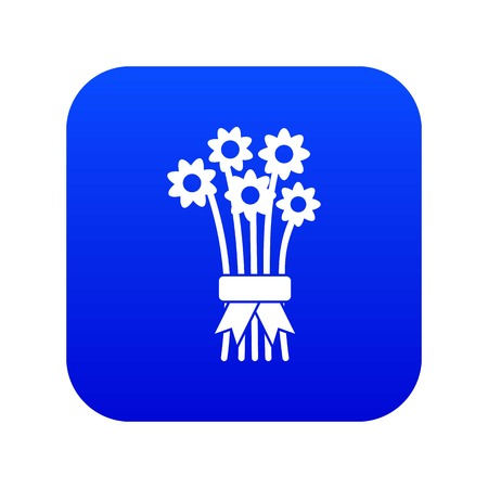 Bouquet of flowers icon digital blue