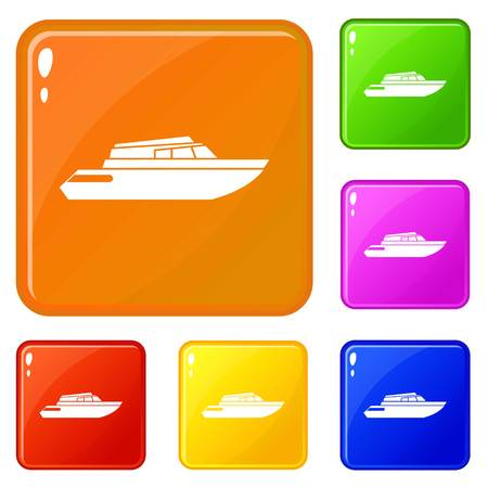 Planing powerboat icons set vector color
