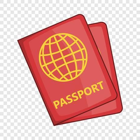 Passport icon, cartoon style