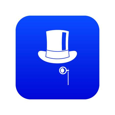 Hat with monocle icon digital blue for any design isolated on white vector illustration