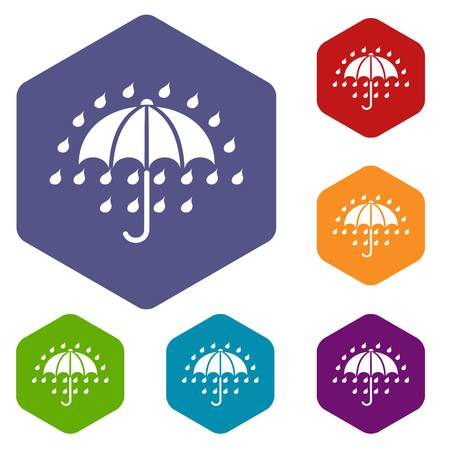 Umbrella icons vector colorful hexahedron set collection isolated on white