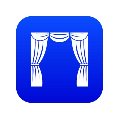 Curtain on stage icon digital blue