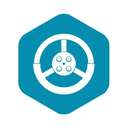 Steering wheel icon, simple style