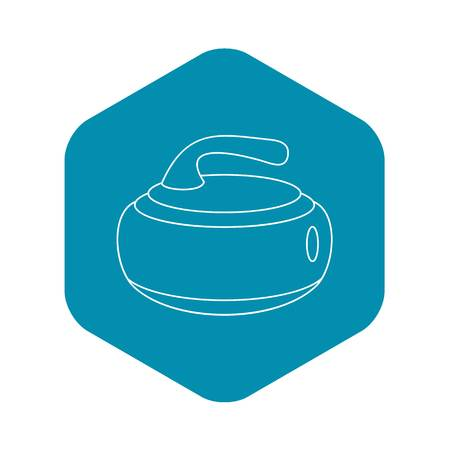 Stone for curling icon. Outline illustration of stone for curling vector icon for web Çizim