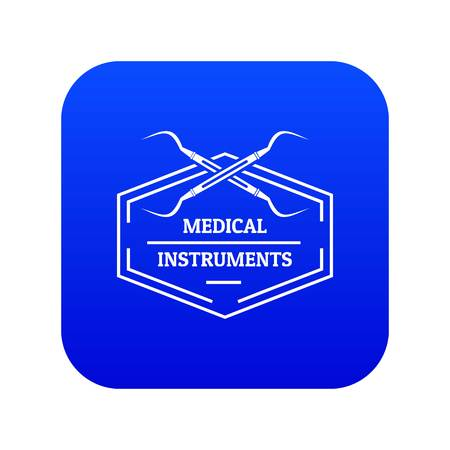 Medical instrument icon blue vector