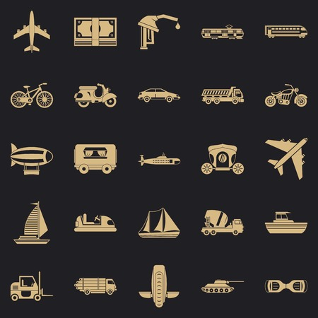 Ride icons set. Simple set of 25 ride vector icons for web for any design Çizim