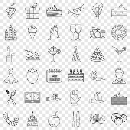 Dress icons set, outline style Vectores