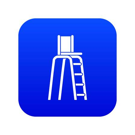 Tennis tower for judges icon digital blue for any design isolated on white vector illustration Çizim