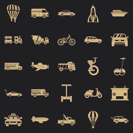 Ensemble d'icônes de deux roues, style simple Vecteurs