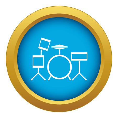 Drum kit icon blue vector isolated on white background for any design
