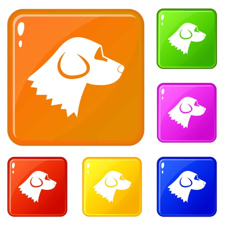 Beagle dog icons set collection vector 6 color isolated on white background Illustration