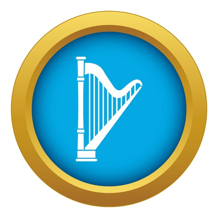 Harp icon blue vector isolated on white background for any design