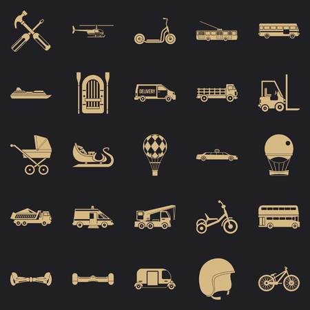 Drive icons set, simple style