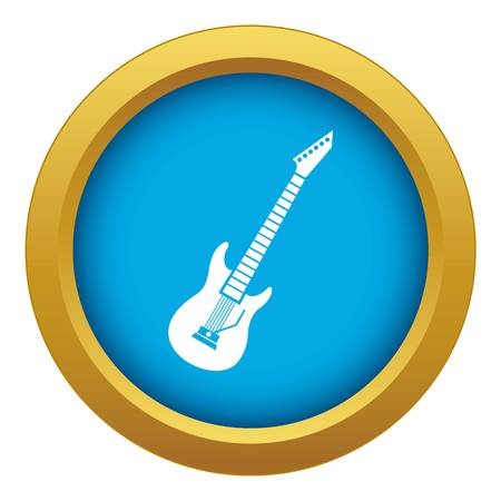 Electric guitar icon blue vector isolated on white background for any design
