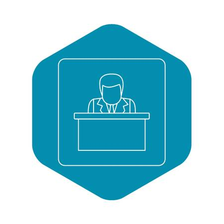 Orator speaking from tribune icon in outline style isolated vector illustration