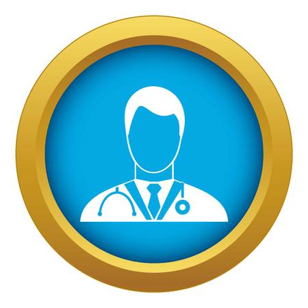 Doctor icon blue vector isolated on white background for any design