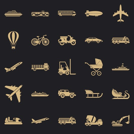 Transit icons set. Simple set of 25 transit vector icons for web for any design Çizim