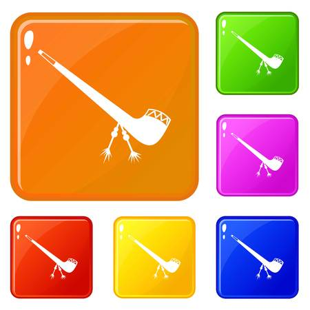 Smoking pipe icons set collection vector 6 color isolated on white background Ilustrace