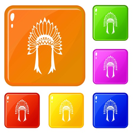 Indian headdress icons set collection vector 6 color isolated on white background